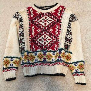 Liz Wear Hand Knit Muti-Color Patterned Sweater